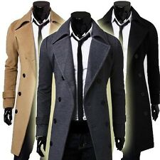 Jeansian Mens Trench Coats Long Jackets Shirts Top Double Breasted 3 Colors 8968