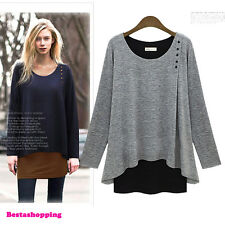 Korean Fashion Womens Loose Casual A-line Shirt Sweater Dress Pullover Plus Size