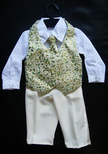 BABY BOY OUTFIT, Gold, Special Occasion Suit, Wedding, Christening, Ages 0-3 Yrs