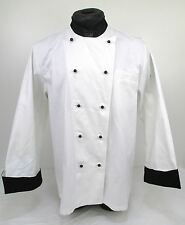 Swanstons White Whites 100% Cotton Chef Chefs L/S Coat Jacket Black Cuffs (JBC4)