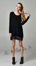 SWEET & SEXY LONG SLEEVE LACE TRIM LITTLE BLACK SOLID MINI DRESS TUNIC S M L