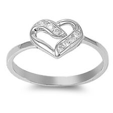 FEB 14TH VALENTINE'S CZ Heart .925 Sterling Silver Ring Sizes 5-9