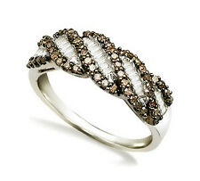 Pretty! .925 Silver Chocolate Brown & White Round & Baguette Diamond Ring .48ct