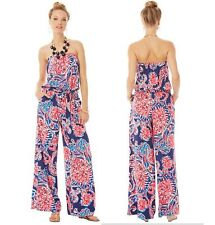 '14 Lilly Pulitzer Farrah Printed Strapless Jumpsuit Bright Navy For The Halibut