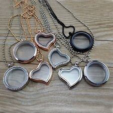 Living Memory Floating Charm Glass Round/Heart Locket Pendant Necklace + Chain