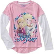 Disney Frozen ELSA ANNA & OLAF Graphic Tee T-Shirt Top PINK Long Sleeve-NEW
