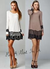 SWEET LONG SLEEVE BLACK LACE TRIM TAUPE BROWN SOLID MINI DRESS TUNIC S M L