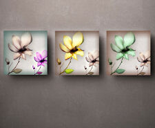 HD Print Oil painting Picture flowers on canvas set of 3 W010