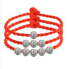 New Womens 925 Sterling Silver Good Luck Wish Beads Red Line Bracelet Bangle