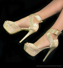 LADIES WOMENS SEXY BEIGE LACE  HIDDEN PLATFORM 6 INCH HIGH HEEL PEEP TOE SHOES