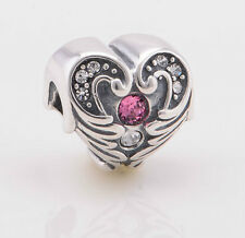 Sterling Silver 925 European Charm Angel Wing Heart Pink & Clear CZ Bead 88578