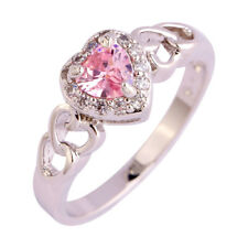 Lovely Ring Heart Cut Pink & White Sapphire Gems Silver Ring Size L N P R T V Y