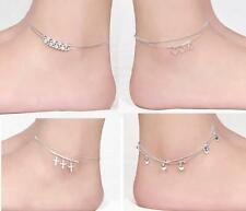 Elegant Silver Plated Double Layer Anklet Ankle Bracelet Chain Multi-Style  FACA