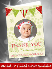 10 Personalised Christmas Thank You Cards Notes Snow Vintage Bunting ADD PHOTO