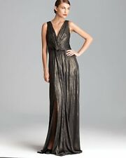 $568 David Meister Gold Striped Twist Front Vneck Metallic Jersey Gown NWT D281
