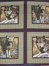 Song of the Wolves Pillow Panel Top Fabric U PICK wolf pup plaid cotton quilt n