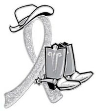 Gray Awareness Ribbon Pin Sparkling Fashion Cowgirl Cowboy Western Boots Hat New