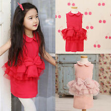 1PC Baby Kids Girls Skirt Lace Bow Ruffled Lapel Wedding Party Dress Cotume 2-7Y