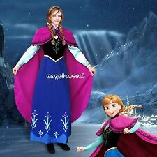 PJ787 Movies Frozen princess tailor made kid adult ANNA Cosplay Costume Dress