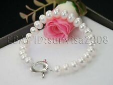 """2014 new best buy AAA 7-8mm white cultured round freshwater pearl bracelet 7.5"""""""