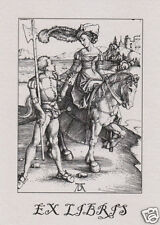 EX LIBRIS BOOKPLATE Lady on Horseback and Lansquenet