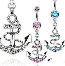 Navel Ring Rhinestone Anchor Dangle Button Barbell Belly Bar Body Piercing