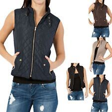 Diamond Quilted Sleeveless Zip Up Vest with Zippered Pockets Lightweight S M L
