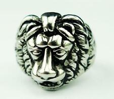 Mens Stainless Steel Fashion Silver Punk Lion Head Ring Animal Jewel Size 8-12 N