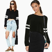 Women's  Long-sleeved Striped Crop Tops Tunic Sweater Pullover Sweatshirts