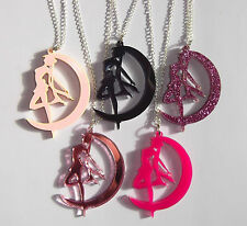 Pretty Sailor Moon silhouette necklace in hot pastel glitter mirror pink black