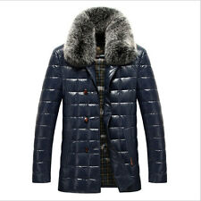 Men's winter duck down jacket real leather+PU real fox fur collar puffer coat