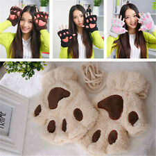 Women Girl Warm Soft Cat Bear''s Paw Furry Thicking Half Finger Gloves Xmas Gift