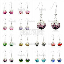 1 Pair Czech Crystal Rhinestones Clay 10mm Disco Balls Earrrings Hook Fastening