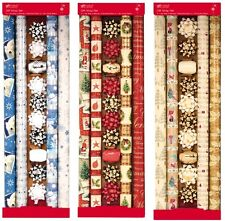 4 Rolls of Christmas Wrapping Paper with 8 Bows & Ribbon Christmas Giftwrap Set