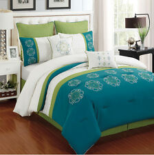 12 Piece Kennedy Turquoise and Ivory Bedding Bed in a Bag Set