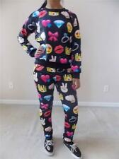New Juniors Sublimated Black Emoji Leggings Joggers & Long Sleeves Top Set