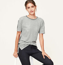 Ann Taylor Loft Striped Front Tee Top Colorblocked Wool Blend  XS S NWT