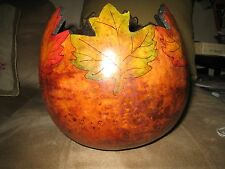 FALL  LEAVES DECORATED GOURD BOWL/VASE