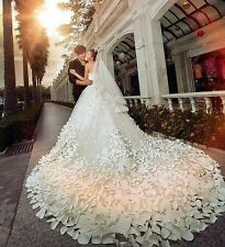 2014 New A line Crystal Bride Gowns White Wedding Dresses Custom Long Train Hot