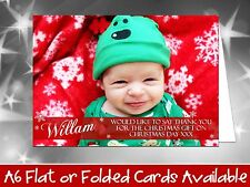 10 Personalised Christmas Greeting Cards Thank You Notes Message Own Full Photo