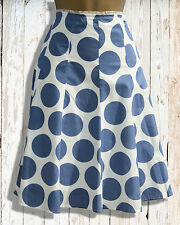 WHITE LABEL White Blue Summer Skirt Cotton Polka Dot A Line Knee Length