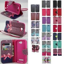 Alcatel One Touch Pop Icon A564C Hybrid PU Leather Wallet Pouch Case Flip Cover