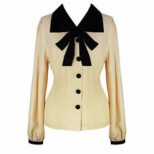 Ivory Black Bow Retro 50s 60s Vintage Style Pinup Blouse Top