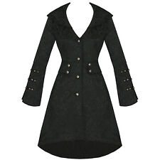 Ladies New Black Gothic Military Jacquard Steampunk Floral Brocade Jacket Coat
