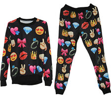 Hot Men's Women's EMOJI Print Funny Autumn Sweatshirt Tops 3D Jogger Pants S-XL