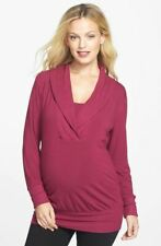 New JAPANESE WEEKEND Maternity Nursing Ribbed Knit Red Wine Shawl Collar Top $84