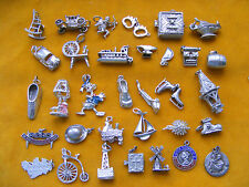 SS VARIOUS VINTAGE STERLING SILVER CHARM SHOE CAR CHERUB BIKE SKATES BARREL HAT