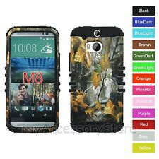 For HTC One M8 Camo Camouflage Hard+Rubber Hybrid Rugged Impact Armor Phone Case