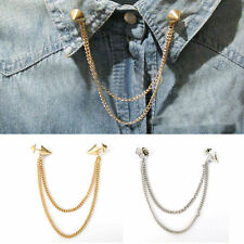 Stud Shirts Collar Neck Tip Brooch Pin Chain Tassels Necklace Punk Gothic 1pcs