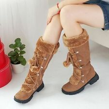 Winter boots faux suede mid calf boots womens lace up low heel shoes zippered